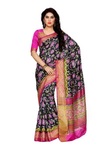MIMOSA Floral Design Ikkat Style Tussar Silk Saree with Blouse in Color Black and Magenta (4126-saln-4-blk-mej) - kupindaindia