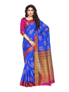 MIMOSA Peacock Pattern Ikkat Style Tussar Silk Saree with Blouse in Color Royal Blue and Magenta (4130-saln-5-rblu-mej) - kupindaindia
