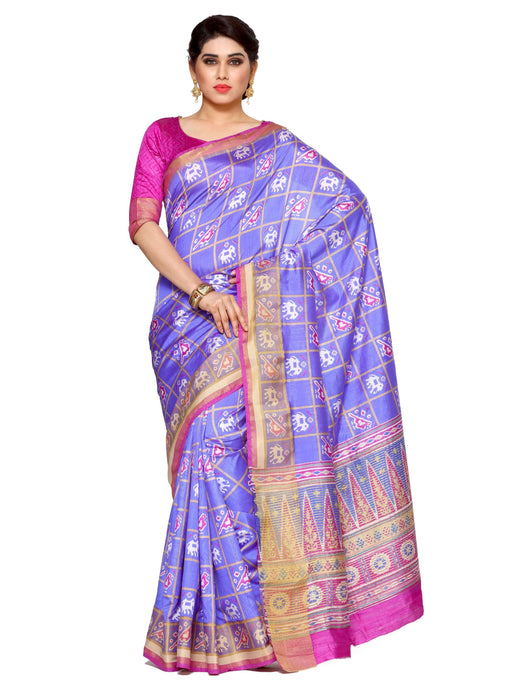 MIMOSA Latest Collection Ikkat Style Tussar Silk Saree with Blouse in Color Violet (4116-saln-3-vlt-rni) - kupindaindia