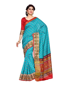 MIMOSA Designer Collection Ikkat Style Tussar Silk Saree with Blouse in Color Turquoise Blue and Strawberry (4148-saln-6-rma-strw) - kupindaindia
