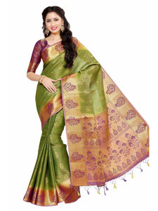 MIMOSA Unique Design Art Silk Kanjivaram Style Saree with Blouse in Color Olive (4045-178-2d-olv-mej) - kupindaindia