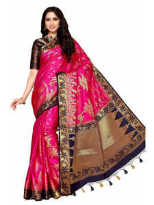 MIMOSA Coconut Tree Design Art Silk Kanjivaram Style Saree with Blouse in Color Dark Pink (4047-248-2d-rni-nvy) - kupindaindia