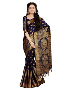 MIMOSA Flower Pot Design Pallu Art Silk Kanjivaram Style Saree with Blouse in Color Navy Blue (4050-241-sd-nvy) - kupindaindia