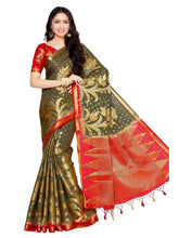 MIMOSA Lotus Flower Design Art Silk Kanjivaram Style Saree with Blouse in Color Grey and Red (4053-247-2d-pgrey-rd) - kupindaindia