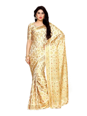 MIMOSA Beautiful Flower and Peacock Design Pallu Art Silk Kanjivaram Style Saree with Blouse in Color Off White/Beige (4123-65-sd-hwt) - kupindaindia