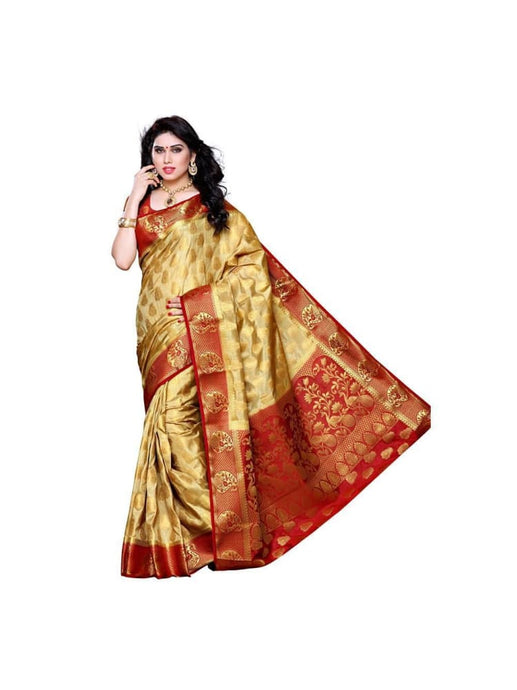 MIMOSA Kanjivaram Art Silk Saree with Motif Butta and Un-Stitched Blouse in Color Chiku and Maroon (3299-224-cku-mrn) - kupindaindia