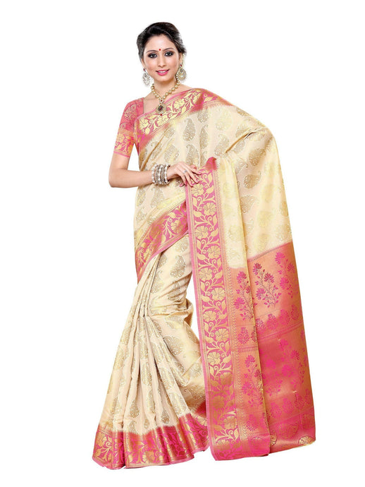 MIMOSA Ethnic Style Kanjivaram Art Silk Saree with Un-Stitched Blouse in Color Off-White (3278-197-hw-rani) - kupindaindia