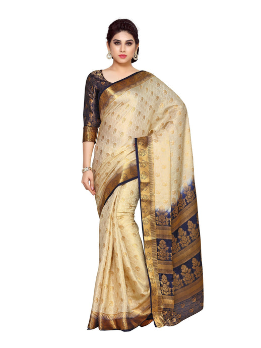 MIMOSA Beautiful Motif Design Art Silk Kanjivaram Style Saree with Blouse in Color Off White (4139-243-2d-hwt-nvy) - kupindaindia