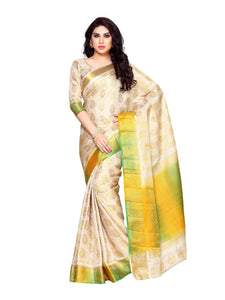 MIMOSA Motif Design Multicolor Border Art Silk Kanchipuram Style Saree with Blouse in Color Beige/Off White (4157-256-hwt-mlty) - kupindaindia
