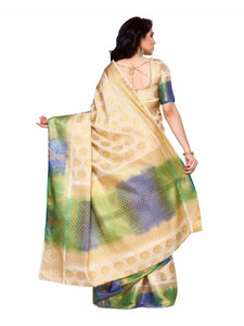 MIMOSA Multicolor Latest Pattern Art Silk Kanjivaram Style Saree with Blouse in Color Off White/Beige (4135-255-hwt-mlty) - kupindaindia
