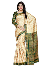 MIMOSA Beautiful Designer Art Silk Kanjivaram Style Saree with Blouse in Color Beige/Off White and Green (4119-172-2d-hwt-bgrn) - kupindaindia
