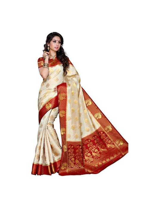 MIMOSA Indian Wedding Style Kanjivaram Art Silk Saree with Blouse in Color Off White and Maroon (3301-200-hwt-mrn) - kupindaindia
