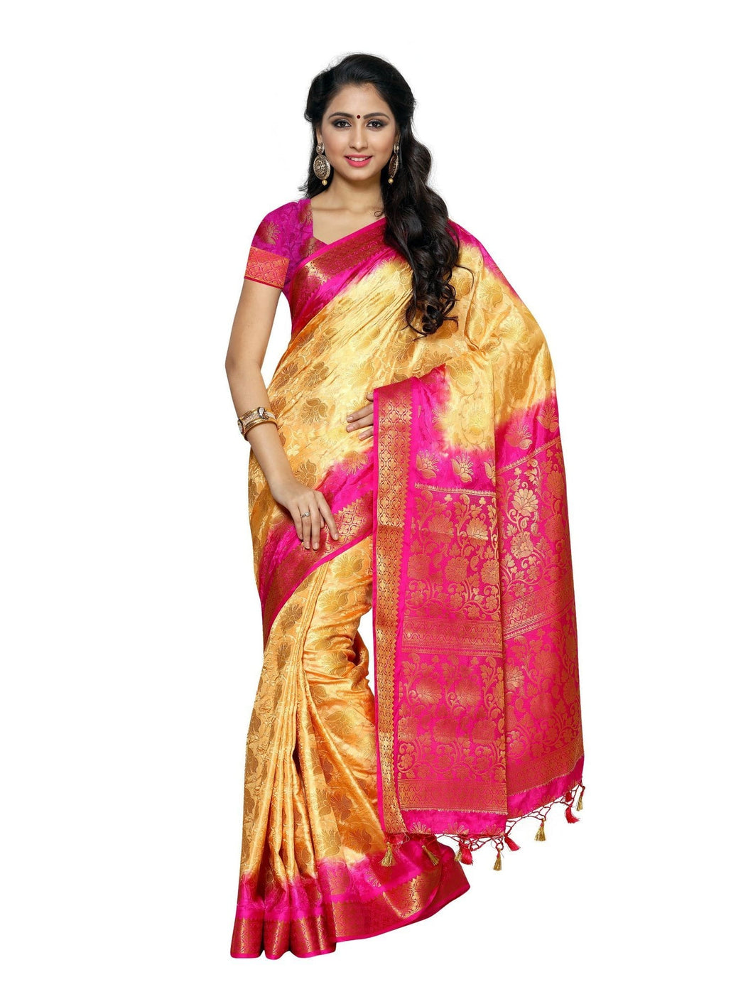 MIMOSA Designer Art Silk Kanjivaram Style Saree with Blouse in Color Chandan (4000-155-2d-cndn-rni) - kupindaindia