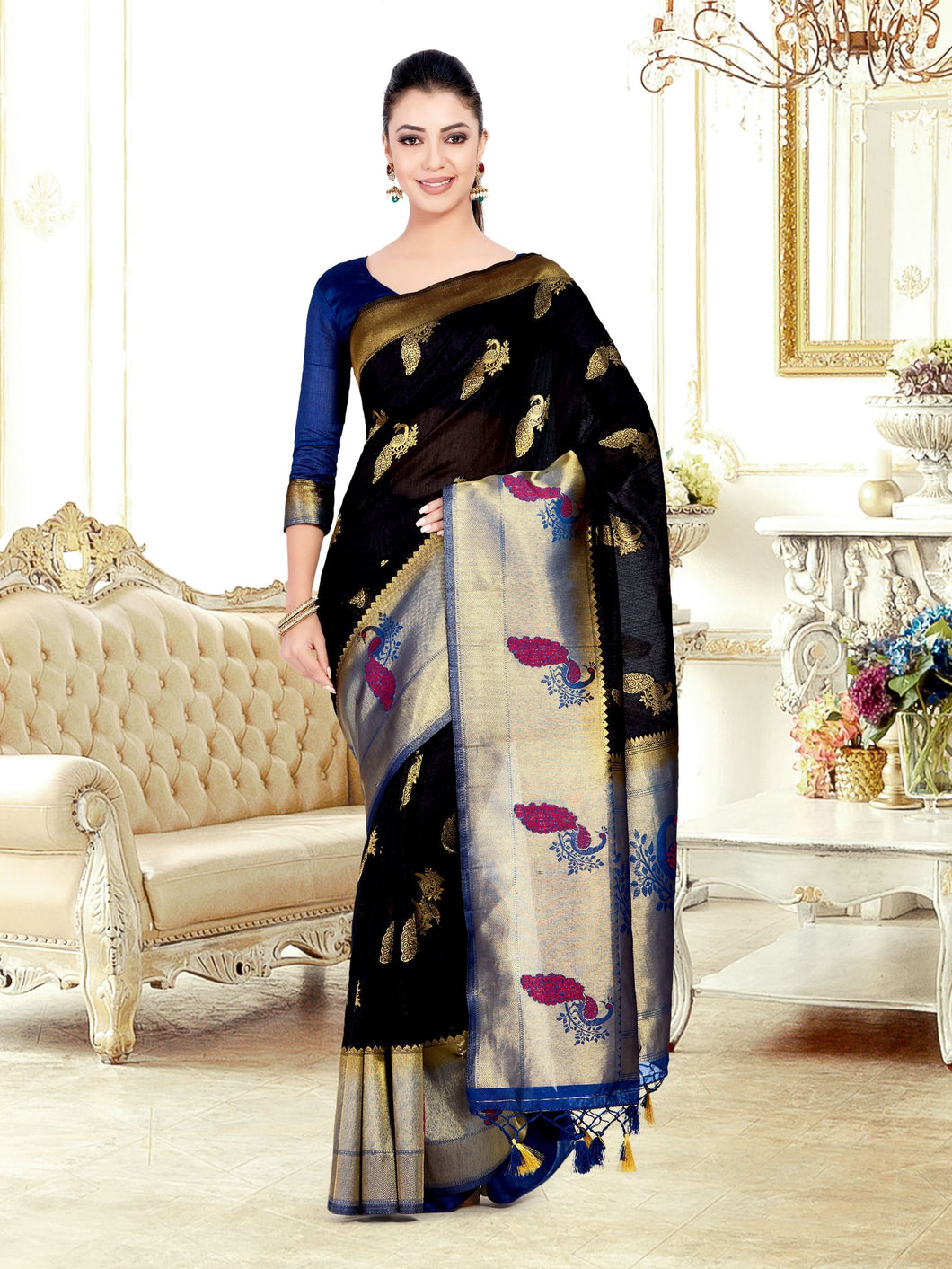 MIMOSA Women's Art Silk Kanjivaram Style Saree with Blouse - kupindaindia