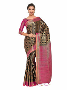 Mimosa Art silk Wedding saree Kanjivarm Pattu style With Contrast Blouse Color: Black (4312-164-2D-BLK-RNI)