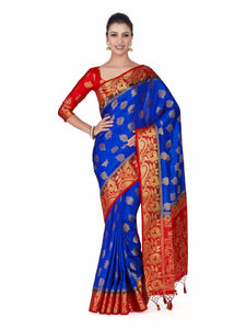 Mimosa Art silk Wedding saree Kanjivarm Pattu style With Contrast Blouse Color: Blue (4285-373-2D-RBL-RD) - Kupinda