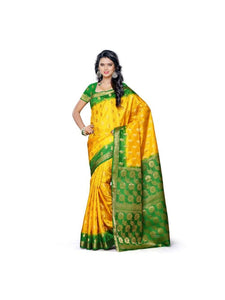 MIMOSA Green Zari Border Kanjivaram Art Silk Saree with Blouse in Color Gold (3305-103-2d-gld) - kupindaindia