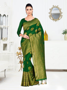 Mimosa Art Silk saree Kanjivaram Style With Blouse - kupindaindia