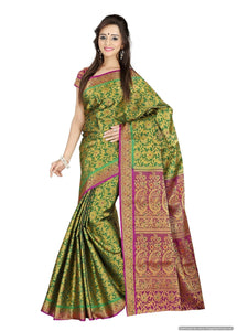 MIMOSA Fully Floral Kanjivaram Art Silk Saree with Un-Stitched Blouse in Color Green (3073-121-dc-blackgreen) - kupindaindia
