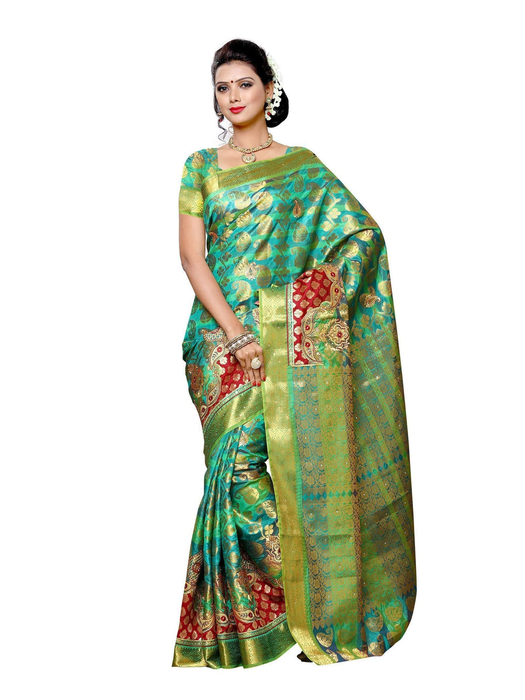 MIMOSA Motif Design Art Silk Kanjivaram Style Saree with Blouse in Color Turquoise (3371-107-kp-bi-emb-rm) - kupindaindia