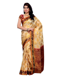 MIMOSA Floral Multicolor Zari Border Kanjivaram Art Silk Saree with Blouse in Color Off-White and Maroon (3169-148-offwt) - kupindaindia