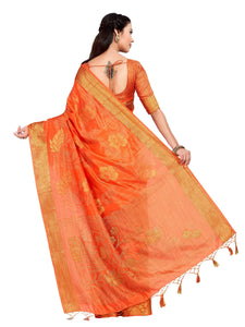 MIMOSA Women's Art Silk Light Weight All Over Woven with Jute Thread Saree with Blouse - kupindaindia