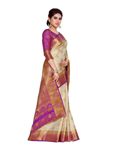 MIMOSA Woven Embose Design Art Silk Kanjivaram Style Saree with Blouse in Color Off White and Lavender (4142-287-2d-hwt-lev) - kupindaindia