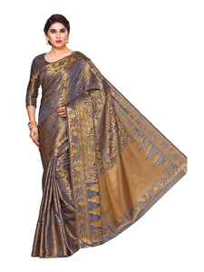MIMOSA Classic Design Art Silk Kanjivaram Style Saree with Blouse in Color Grey (4124-281-sd-grey) - kupindaindia