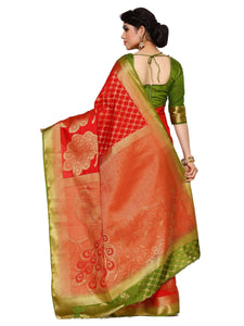MIMOSA Peacock Design Pallu Art Silk Kanjivaram Style Saree with Blouse in Color Red (4102-2150-2d-rd-olv) - kupindaindia