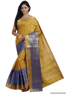 MIMOSA Latest Designing Art Silk Kanjivaram Style Saree with Blouse in Color Mustard and Royal Blue (3378-194-2d-mus-rblu) - kupindaindia