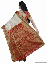 MIMOSA Leaf Design Border Art Silk Kanjivaram Style Saree with Blouse in Color Off White and Maroon (3366-157-hwt-mrn) - kupindaindia