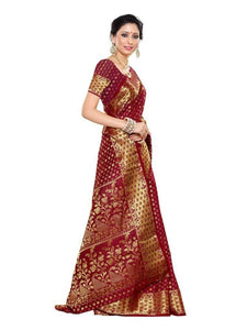 MIMOSA Wedding Style Kanjivaram Art Silk Saree with Blouse in Color Maroon (3246-198-mrn) - kupindaindia