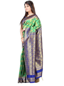MIMOSA Floral Border Design Kanjivaram Art Silk Saree with Blouse in Color Turquoise (3111-r3-ramablue) - kupindaindia