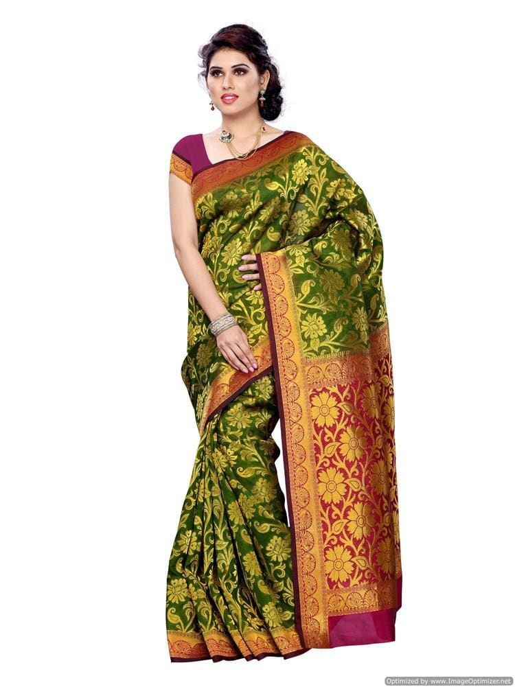 MIMOSA Latest Collection Floral Design Kanjivaram Art Silk Saree with Blouse in Color Olive and Maroon - kupindaindia