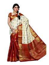 MIMOSA Patli Kanjivaram Artificial Silk Saree with Contrast Blouse in Color Off White and Maroon (3413-225-pt-hwt-mrn) - kupindaindia