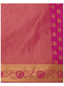 MIMOSA Floral Design Art Silk Kanchipuram Style Saree with Blouse in Color Off White (4152-179-tuss-rni) - kupindaindia