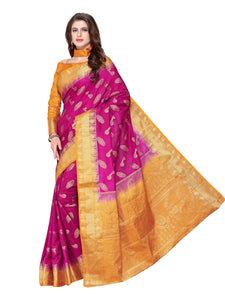 Mimosa Kanjivaram Style Art Silk saree color: Orange ( 4212-297-2D-PCH-NVY ) - kupindaindia
