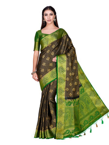 Mimosa Art silk saree Kanjivarm Pattu style With Contrast Blouse - kupindaindia