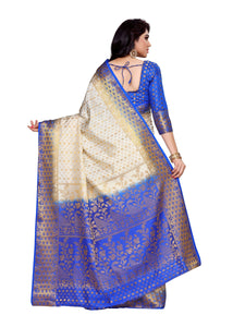 MIMOSA Embose Traditional Design Art Silk Kanjivaram Style Saree with Blouse in Color Off White and Royal Blue (4136-198-2d-hwt-rblu) - kupindaindia