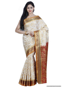 MIMOSA Traditional wear Art Silk Kanjivaram Style Saree with Blouse in Color Off White and Maroon (3364-149-hwt-mrn) - kupindaindia
