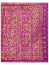 MIMOSA Peacock Design Pallu and Border Art Silk Kanjivaram Style Saree with Blouse in Color Gold and Lavender (4141-206-2d-gld-lev) - kupindaindia