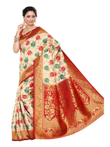 MIMOSA Festive Wear Traditional Kanjivaram Art Silk Saree with Un-Stitched Blouse in Color Off-White - kupindaindia