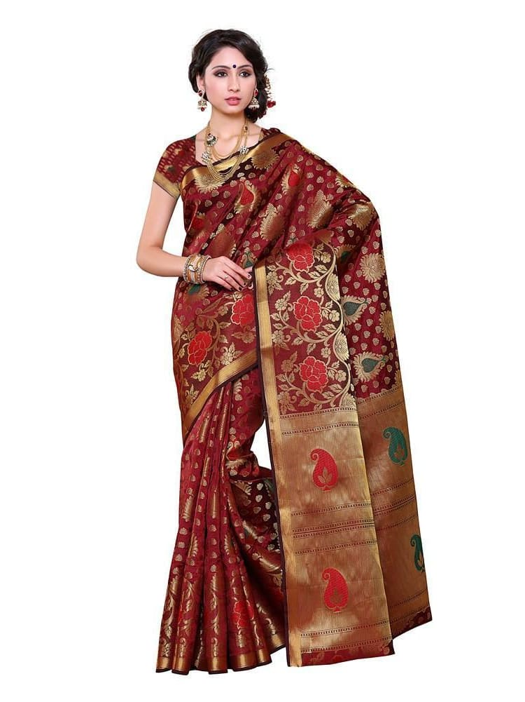 MIMOSA Beautiful Motif Design Pallu Kanjivaram Art Silk Saree with Blouse in Color Maroon (3242-192-sd-mrn) - kupindaindia
