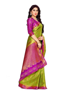 MIMOSA Beautiful Collection Art Silk Kanjivaram Style Saree with Blouse in Color Olive (4121-265-2d-olv-mej) - kupindaindia