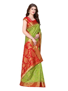 Mimosa Kanjivaram Style Art Silk saree color: Orange ( 4213-2197-2D-PCH-MEJ ) - kupindaindia