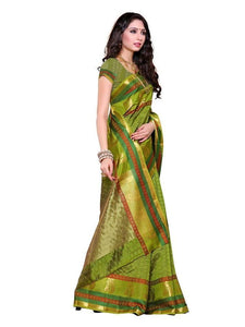 MIMOSA Fine Design Zari Border Tussar Silk Saree with Un-Stitched Blouse in Color Olive (3232-191-oliv) - kupindaindia