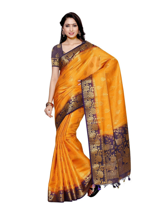 MIMOSA Dye & Dye Border Finish Art Silk Kanjivaram Style Saree with Blouse in Color Gold (4011-213-2d-gld-nvy) - kupindaindia