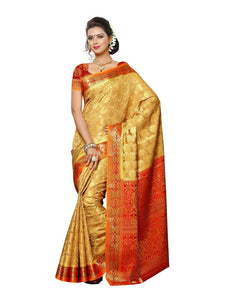 MIMOSA Full Motif Design Kanjivaram Art Silk Saree with Blouse in Color Chiku (3432-151-cku-rd) - kupindaindia