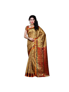 MIMOSA Kanjivaram Art Silk Saree with Fully Motif Design and Blouse in Color Chiku and Maroon (3296-140-cku-mrn) - kupindaindia