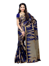 MIMOSA Navy Blue Color Tussar Silk Saree with Blouse in Floral (3216-163-navy) - kupindaindia